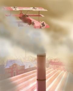 Baron rouge au dessus d'une usine