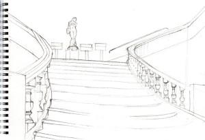 Croquis de l'escalier d'honneur du Palais de Fervaques
