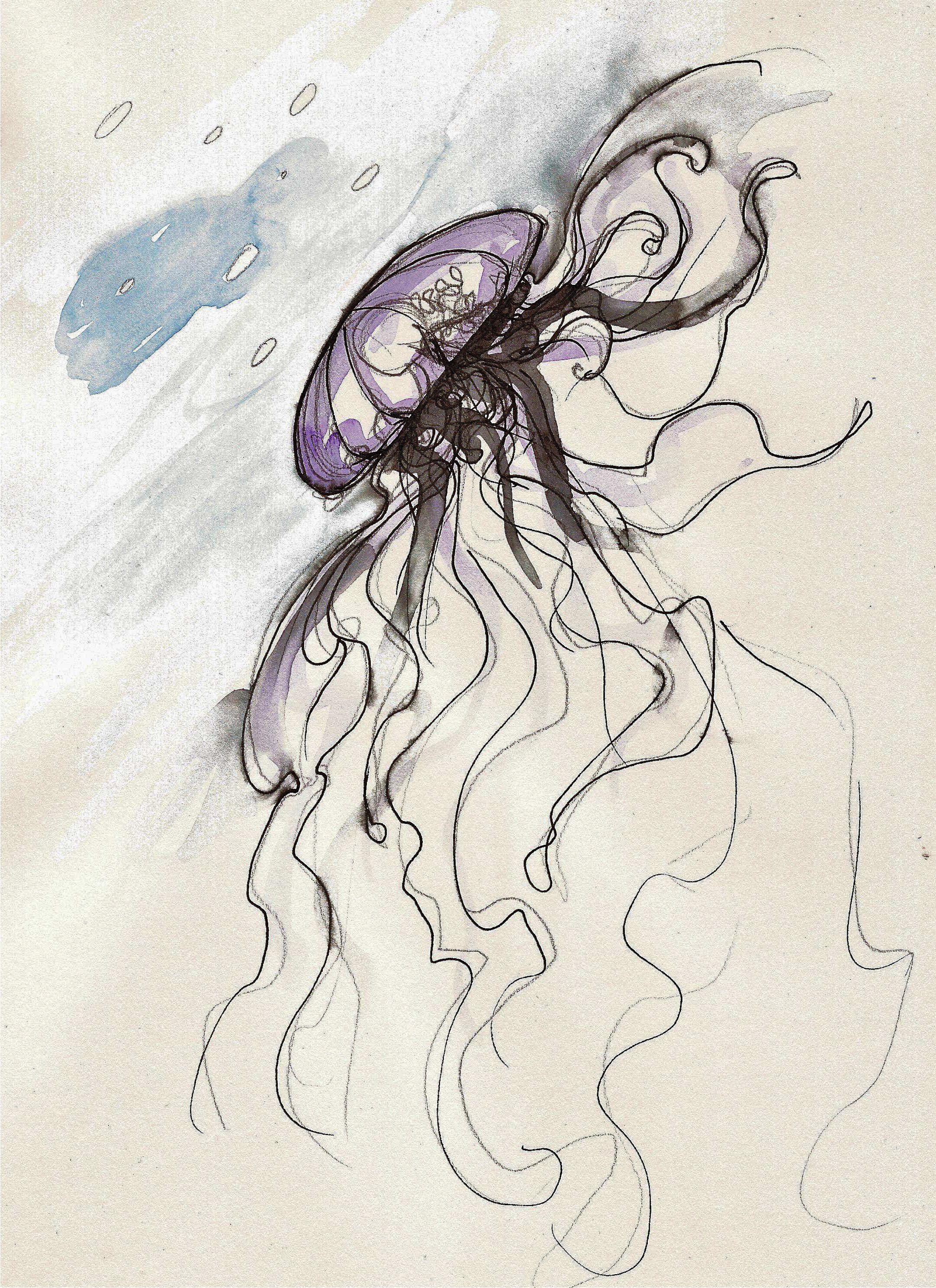 Meduse Ou Physalie Dans Un Ocean D Aquarelle Espace Graphique