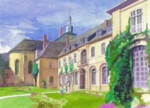 Aquarelle de l'Abbaye de Valloires
