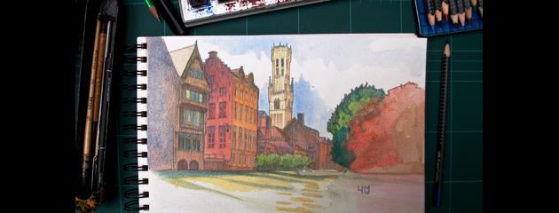 Bruges : Aquarelle et crayon