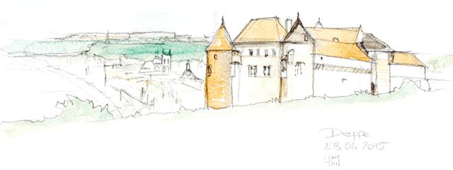 Aquarelle du Château de Dieppe