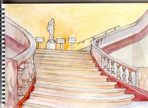Escalier de Fervaques à l'aquarelle