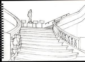L'escalier de Fervaques après une deuxième séance de croquis.