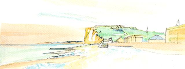 Aquarelle de la falaise